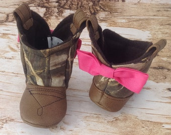 Camo Baby Cowboy Boots with Leather & Bows | Preemie | Newborn | 3-6 Month | 6-9 Month | 9-12 Month | 12-18 Month | 18-24 Month