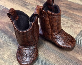Brown Leather Baby Cowboy Boots | Cowgirl Boots | Faux Leather Boots | Newborn up to 24 Month in Sizes