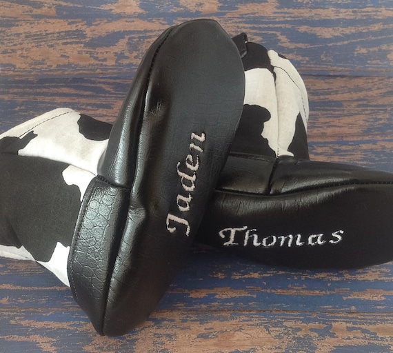 6b969bdde7767 Black & White Cow Print Baby Cowboy Boots with Leather | Preemie size up to  24 Months