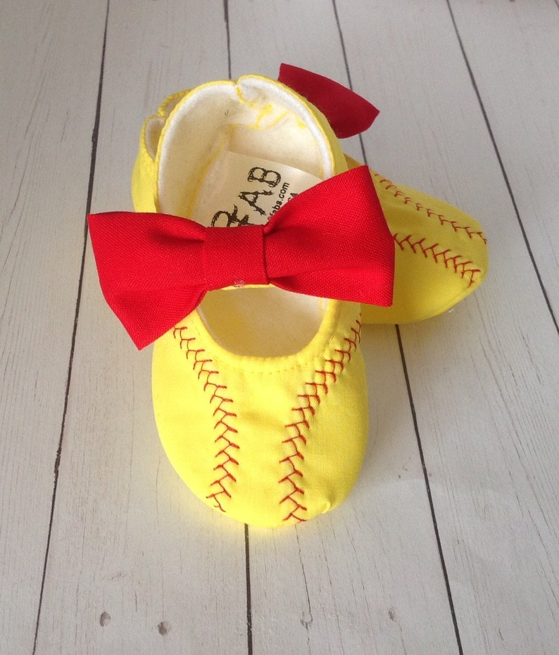 9b2e3704b29c4 Softball Baby Girl Shoes with Bows | Newborn size up to 24 Months