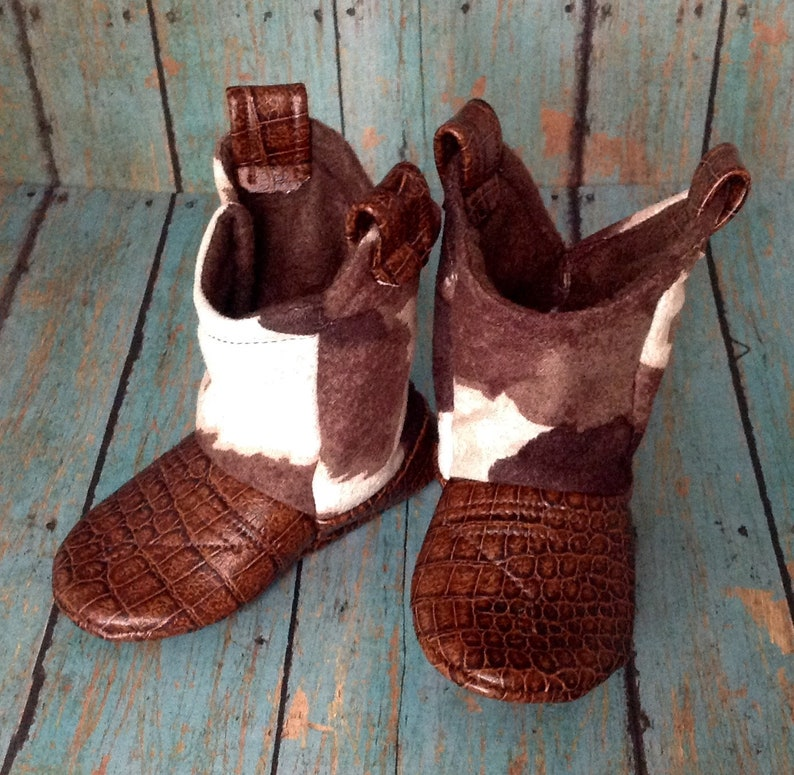 Brown & White Cow Print Baby Cowboy Boots with Leather image 0