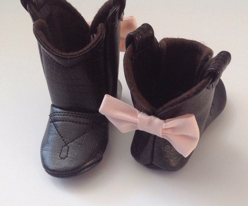 e406ae16ec1f8 Baby Leather Cowboy Boots | Choose your faux Leather & Bow Color | Preemie  up to 24 Months