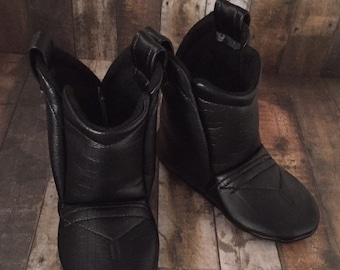 Black Leather Baby Cowboy Boots | Cowgirl Boots | Alligator Faux Leather | Newborn size up to 24 Months