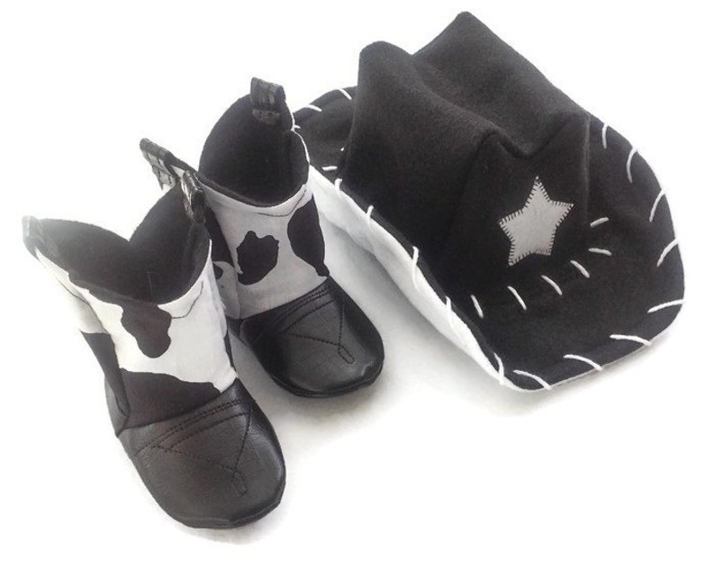 83ec1ba091d38 Baby Cowboy Boots & Hat | Black and White Cow Print | Newborn up to 24  Months