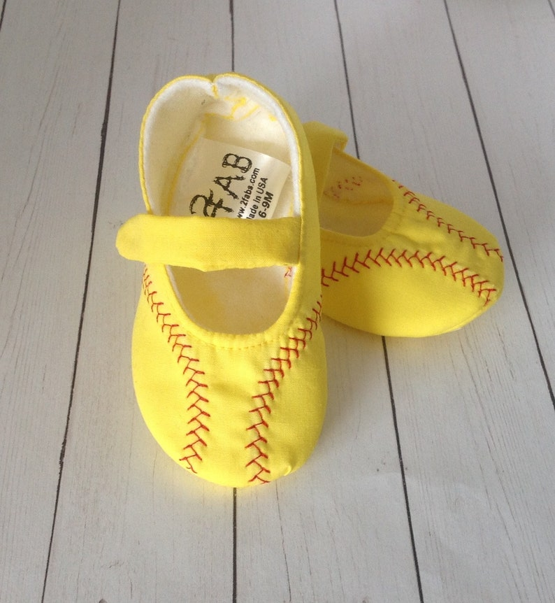 923eef3cba8ca Softball Baby Girl Shoes | Yellow Baby Shoes with Red Stitching | Newborn  size up to 24 Months