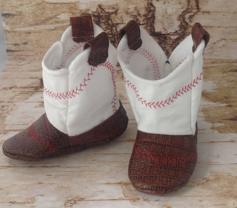 3755ebead1c Baseball Baby Cowboy Boots with Leather | Preemie size up to 24 Months