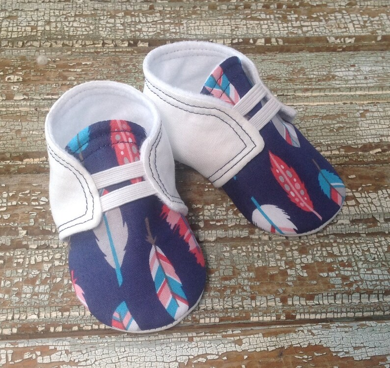 f8ae4d1558c Baby Shoes with Feather Design Tribal Baby Shoes Newborn