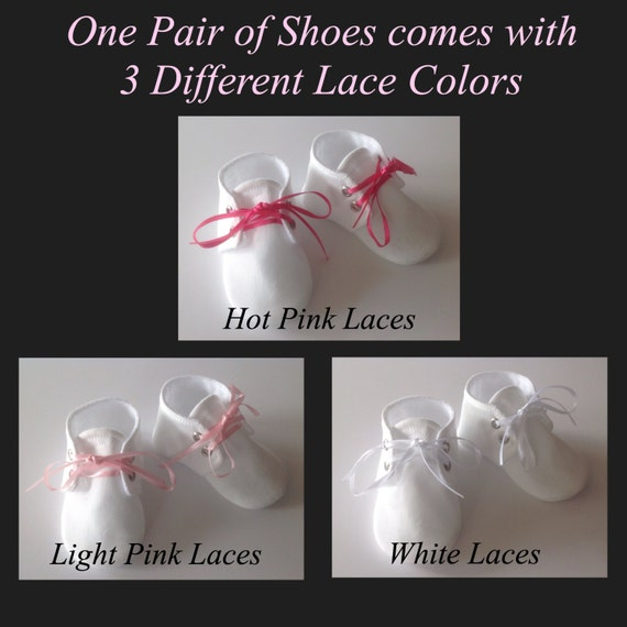 White Lace Up chaussures de bébé |  Hot roses, roses et blanc interchangeables lacets