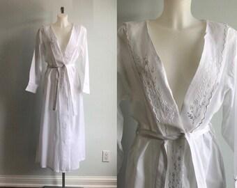 7a723477a5 Vintage White Cotton Robe