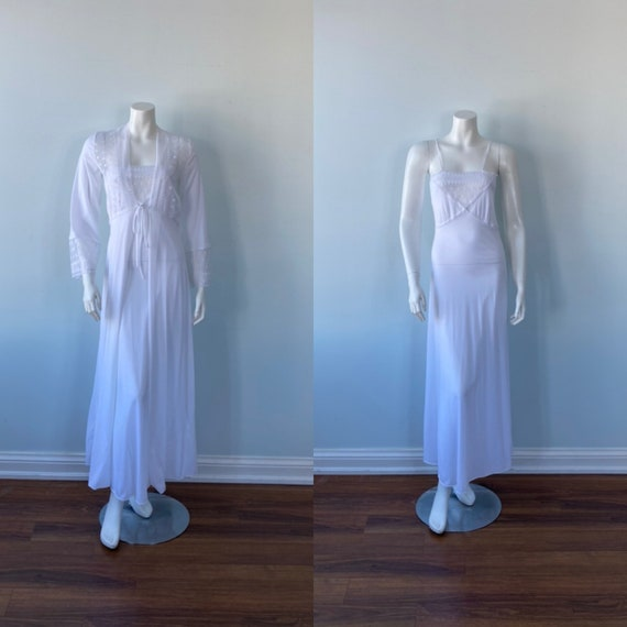 White Peignoir Set, 1970s White Peignoir Set, Vint