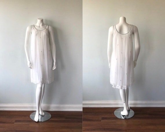 Vintage White Chiffon Nightgown, Miss Siren, 1960s
