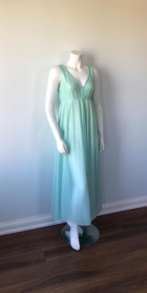 Vintage Mint Green Nightgown, 1970s Nightgown, Li… - image 4