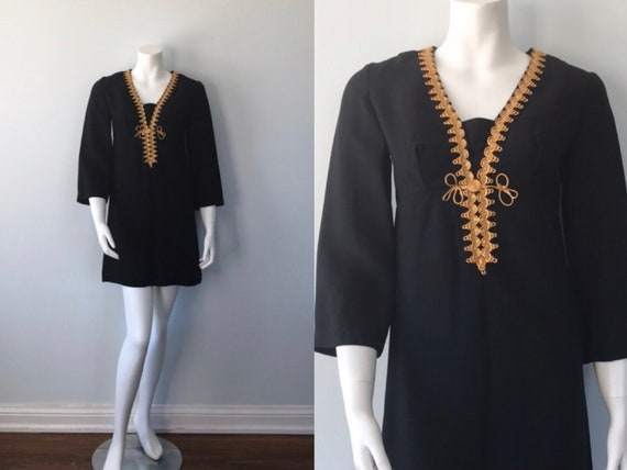 Vintage Mini Dress, 1960s Black Mini Dress, Judy P