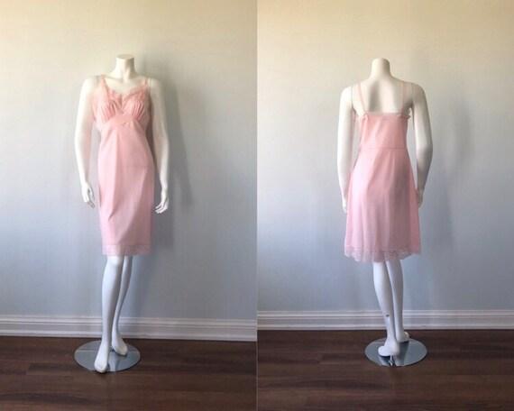 Vintage Pink Full Slip, Queentex, 1960s Full Slip,