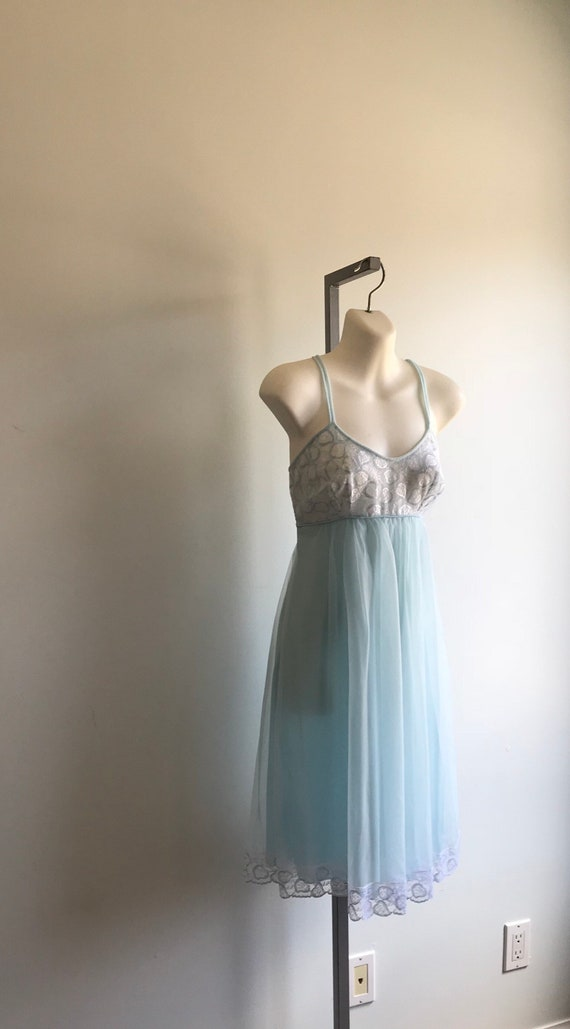 Vintage Pale Blue Chiffon Nightgown, French Maid.… - image 5
