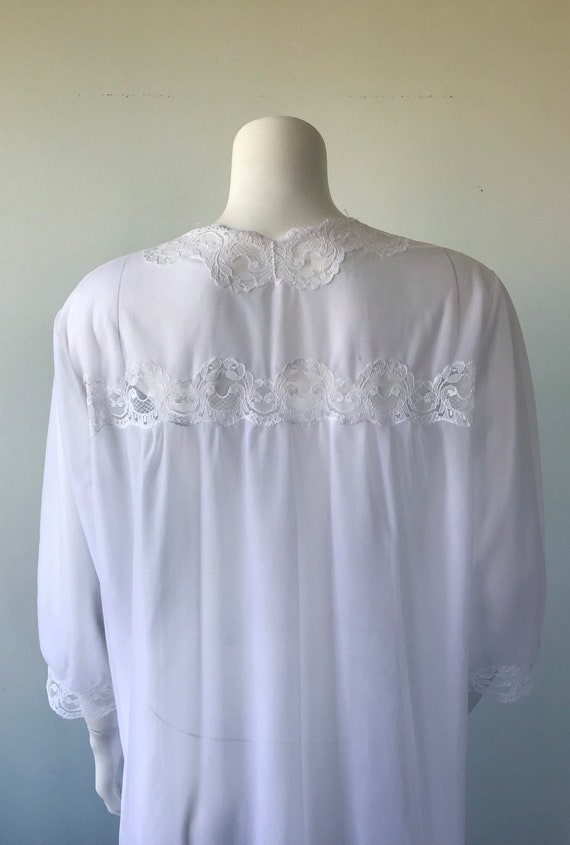 Vintage White Double Chiffon Nightgown, 1970s Nig… - image 9