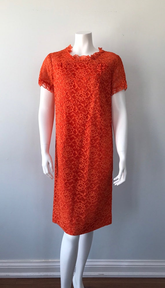 Vintage Orange Lace Dress, 1960s Lace Dress, Vint… - image 2