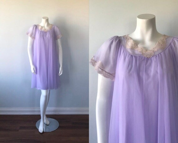 1960s Lavender Chiffon Nightgown, Vintage Nightgow