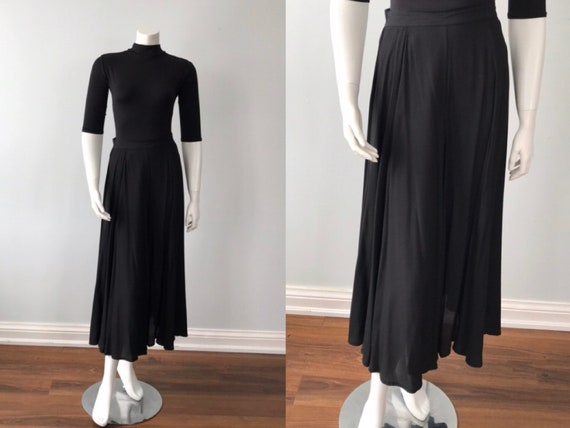 Vintage Black Skirt, Laura Ashley, 1980s Black Ski