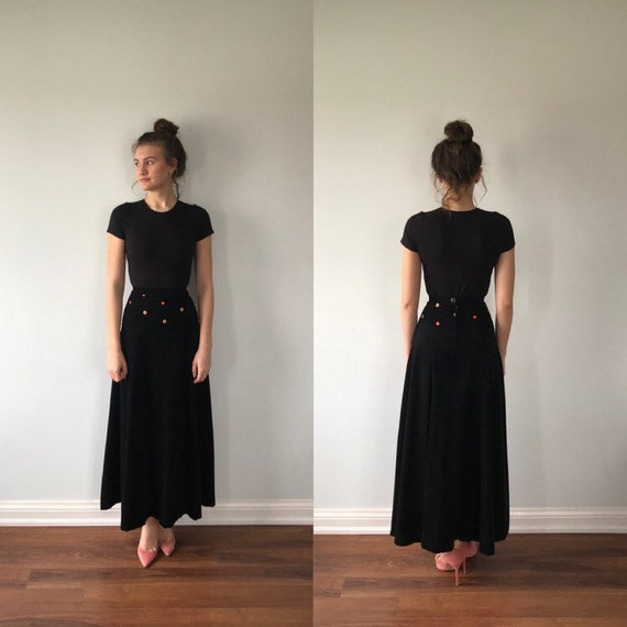 Vintage Black Cotton Corduroy Maxi Skirt, Mo The M