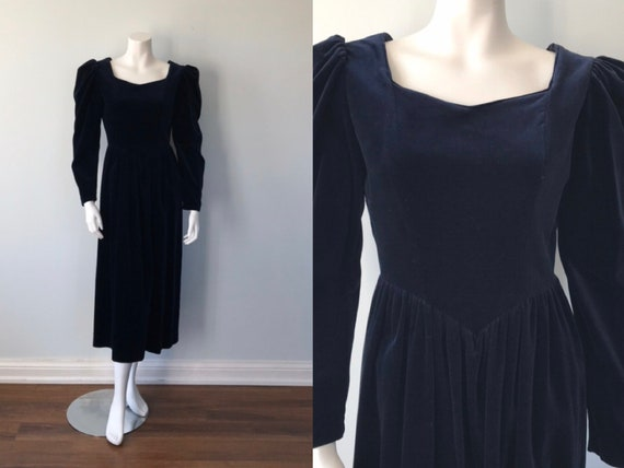 Vintage Laura Ashley Blue Velvet Dress, Blue Velve