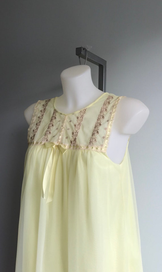 Vintage Yellow Chiffon Nightgown, 1960s Nightgown… - image 3