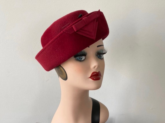Vintage 1940s Pill Box Hat, 1940s Hat, Pill Box Ha