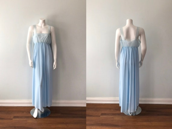 Vintage Blue Nightgown, 1970s Nightgown, Vintage N