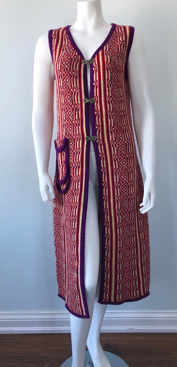 1960s Knit Long Vest, 1960s Wool Vest, Favorite K… - image 2