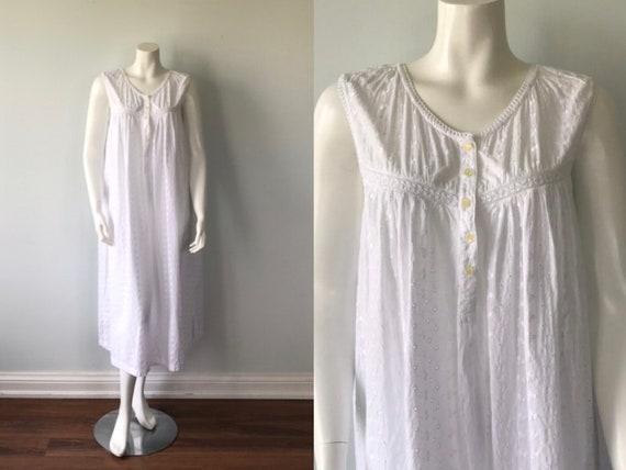 Vintage White Cotton Nightgown, Eyelet Nightgown,