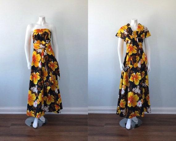 1960s Maxi Dress, Floral Maxi Dress, Strapless Dre