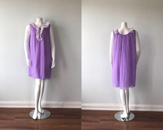 Vintage Chiffon Nightgown, Dorsay, Purple Chiffon… - image 1