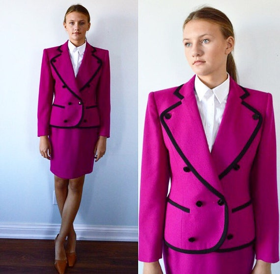 Guy Laroche Magenta Skirt Suit, Ladies Wool Skirt