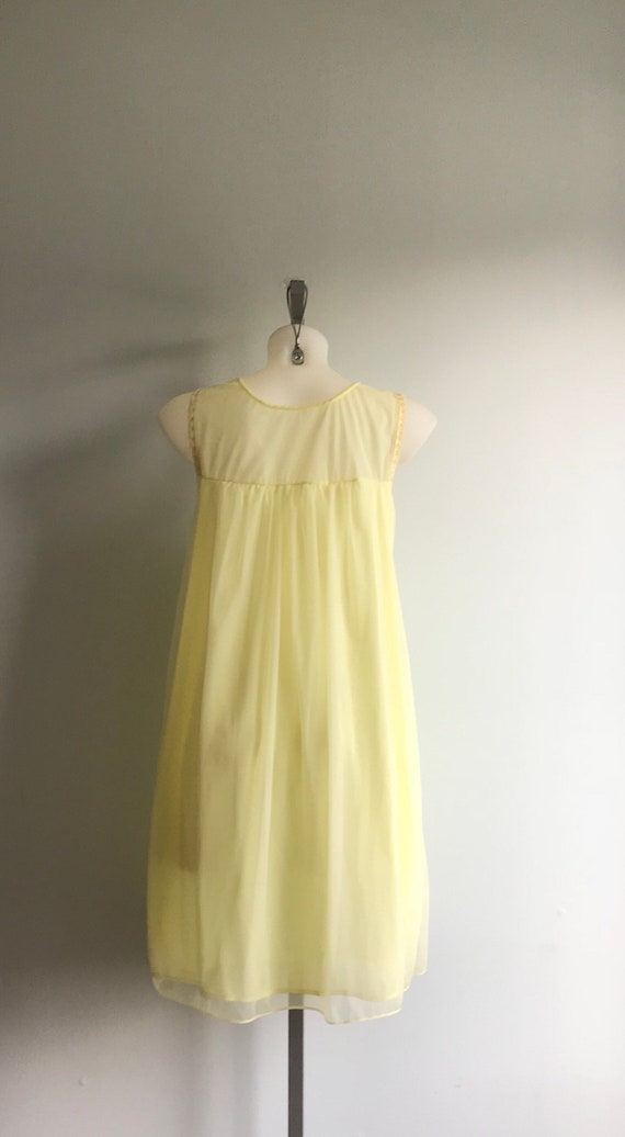 Vintage Yellow Chiffon Nightgown, 1960s Nightgown… - image 6