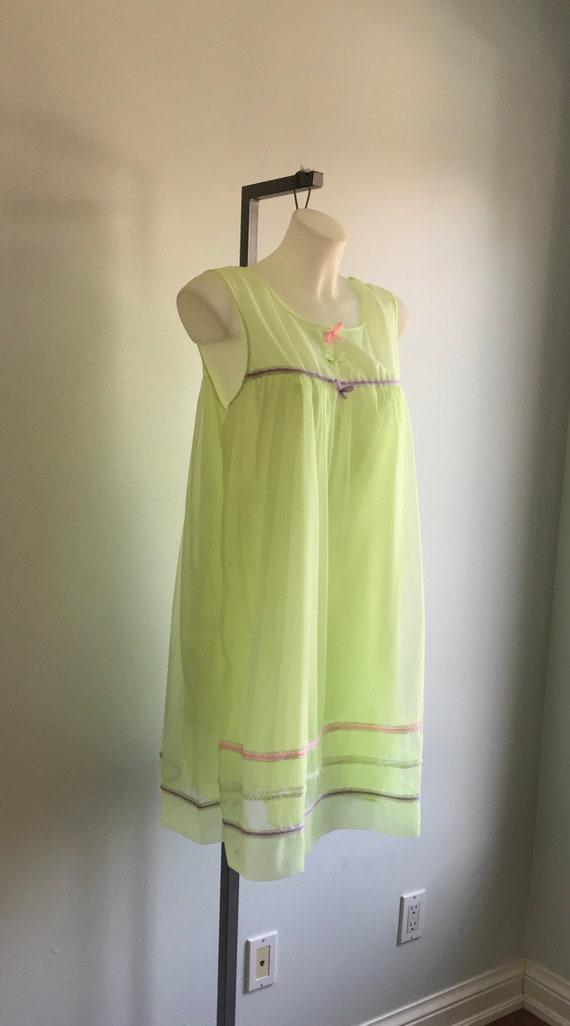 Vintage 1960s Yellow Chiffon Nightgown, Dorsay, 1… - image 4