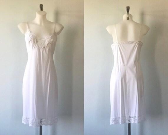Vintage White Full Slip, Kayser, 1960s Slip, Vinta