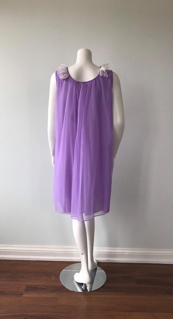Vintage Chiffon Nightgown, Dorsay, Purple Chiffon… - image 7
