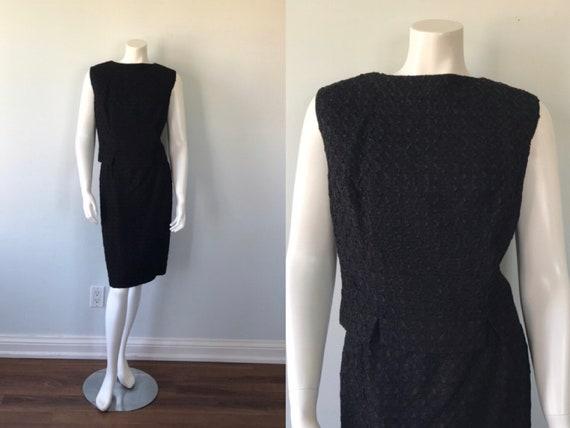 Vintage Black Ribbon Work Skirt Suit, 1960s Skirt