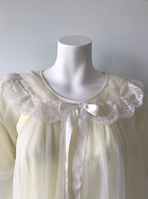 Vintage Chiffon Nightgown, St Michael, Pale Yello… - image 4