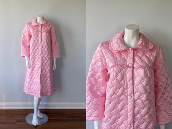 Vintage Pink Quilted Robe, Miss Form, 1960s Pink R