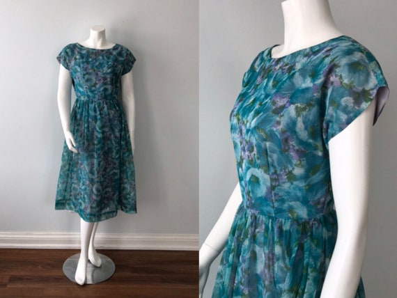 Vintage Teal Green Floral Chiffon Dress, 1950s Dre