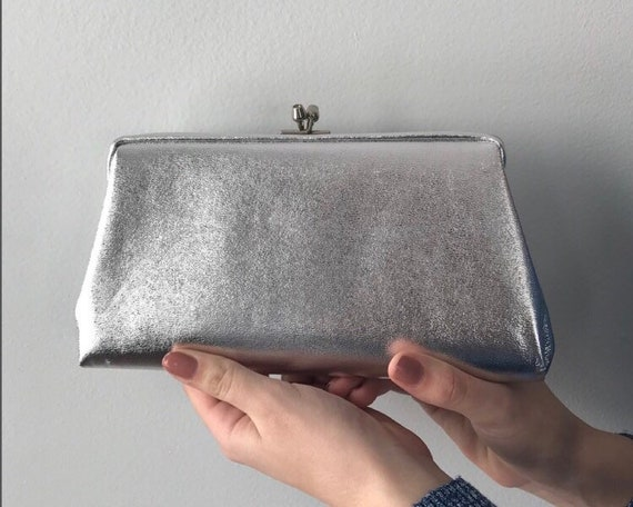 Vintage Silver Lame Evening Clutch, 1950s Siver Cl