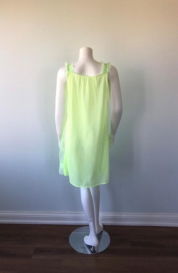Vintage Florescent Green Short Chiffon Nightgown,… - image 7