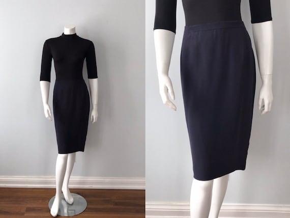 Vintage Navy Blue Beaded Skirt, Louis Ferraud, 198