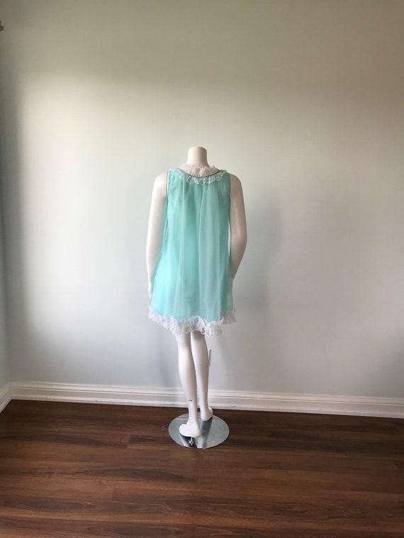 Vintage Aqua Chiffon Nightgown, D'Allards, 1960s … - image 5