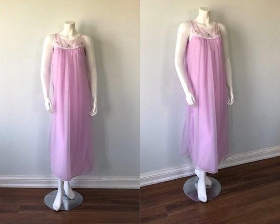 Vintage Chiffon Nightgown, 1960s Chiffon Nightgown