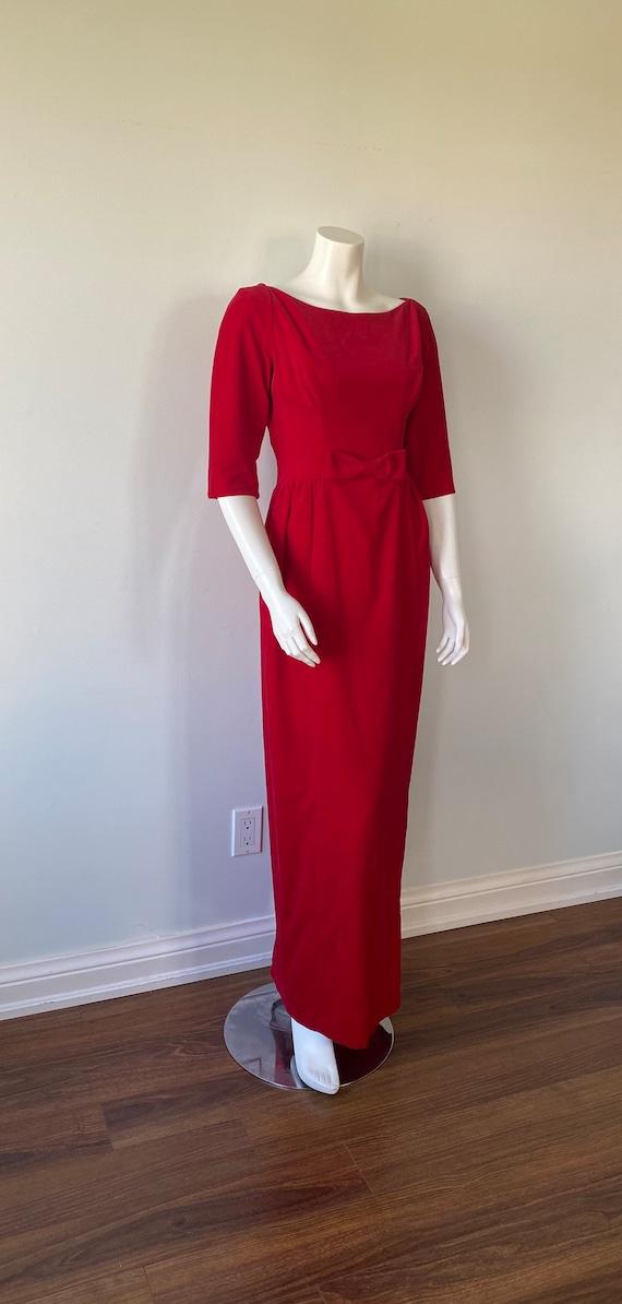1950s Red Velvet Evening Gown, Lorrie Deb SAN Fra… - image 5