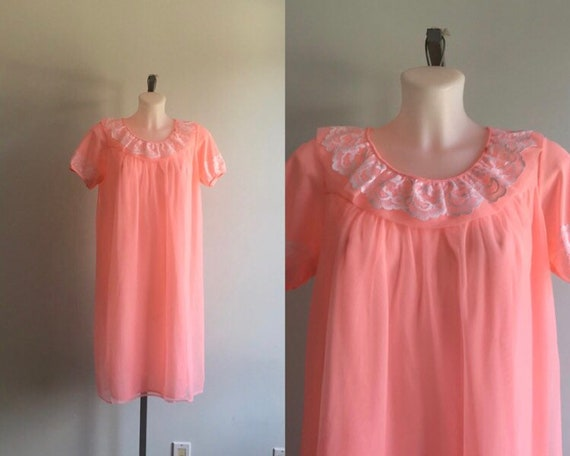 Vintage Pink Chiffon Nightgown, Vintage Nightgown,