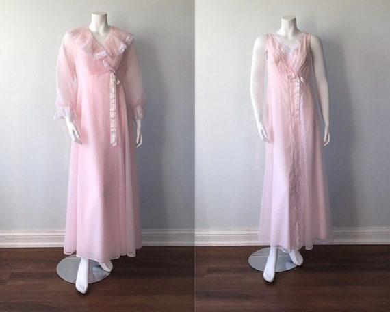 Vintage Pink Chiffon Peignoir Set, Shadowline, 196