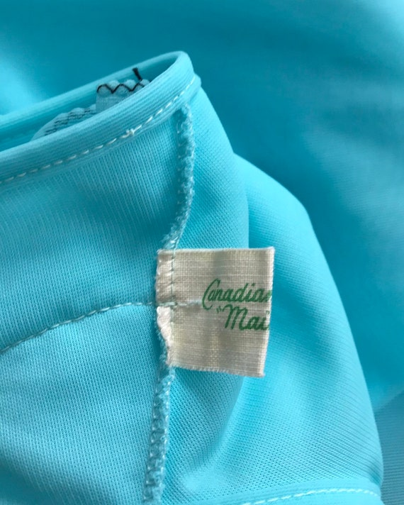 Vintage Aqua Chiffon Nightgown, Canadian Maid, 19… - image 9